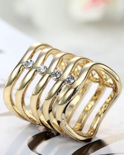 Spona na šatku - Vlnitý drahokam - zlatá