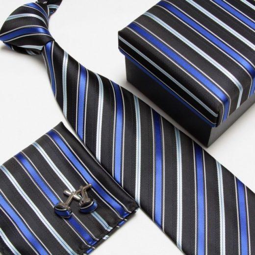 Luxusný kravatový set s čierno-modrým pásikavým vzorom