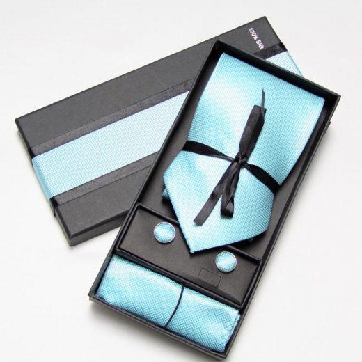 Luxusná kravata, vreckovka a manžetové gombíky v tyrkyskovej farbe