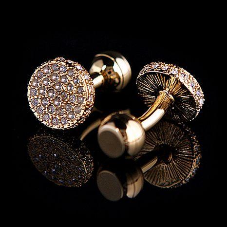 Luxusné svadobné manžetové gombíky v zlatej farbe (3)