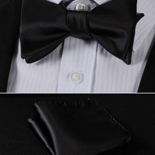 Elegantný hodvábny set - motýlik a vreckovka, v čiernej farbe