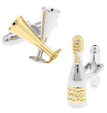 Kreatívne manžetové gombíky - šampanské a poháre