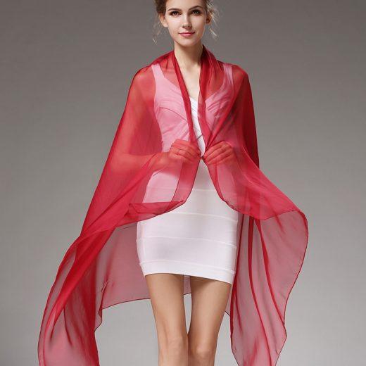Elegantný veľký dámsky hodvábny šál vo vínovo červenej farbe