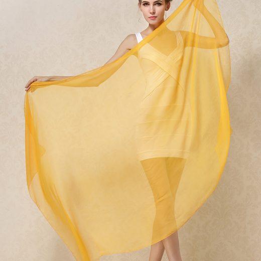 Elegantný veľký dámsky hodvábny šál v pomarančovo-žltej farbe