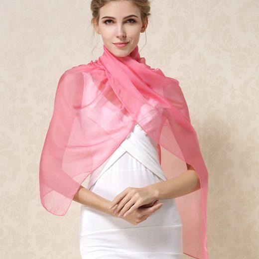 Elegantný veľký dámsky hodvábny šál v ružovej farbe