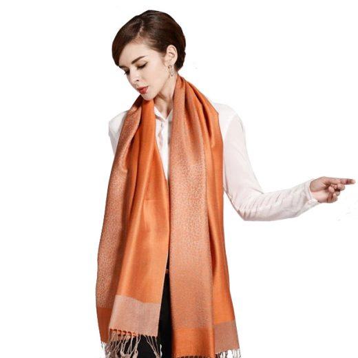 Luxusný ručne tkaný kašmírový šál s prímesou hodvábu pomarančový