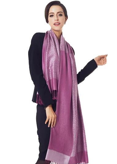 Luxusný ručne tkaný kašmírový šál s prímesou hodvábu fialový