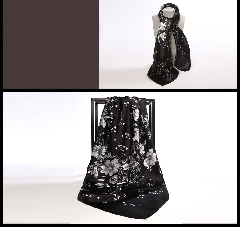 1de72c765c2f Elegantná hodvábna šatka so vzorom čierno-bielej farbe