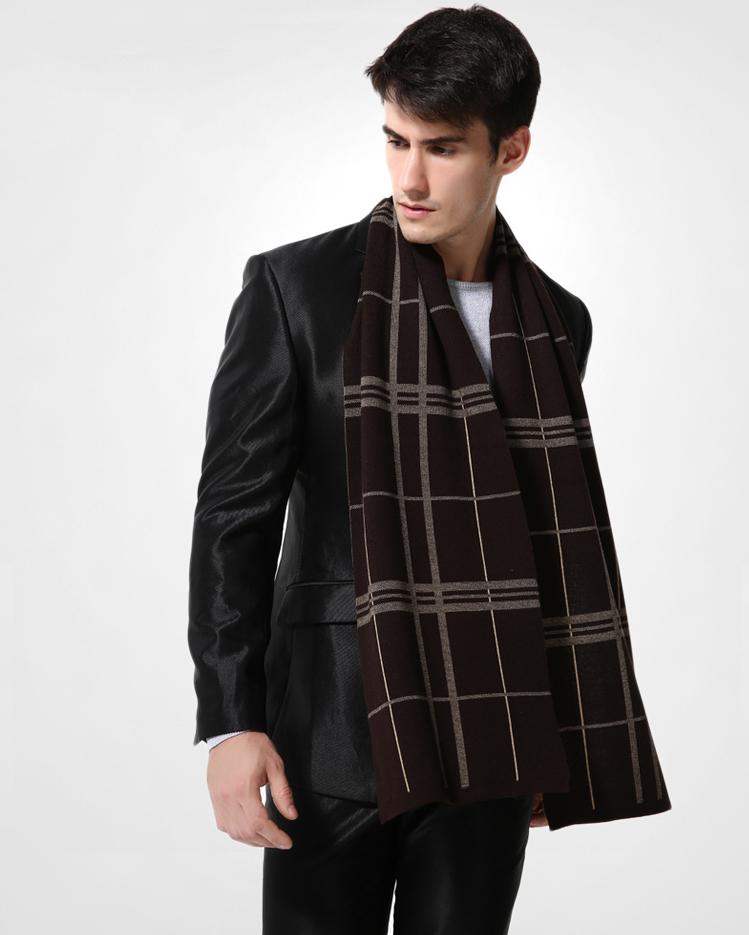 Elegantný pánsky šál z vlny a bavlny - Vzor 14