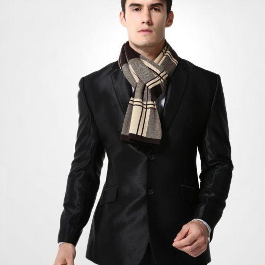 Elegantný pánsky šál z vlny a bavlny - Vzor 16