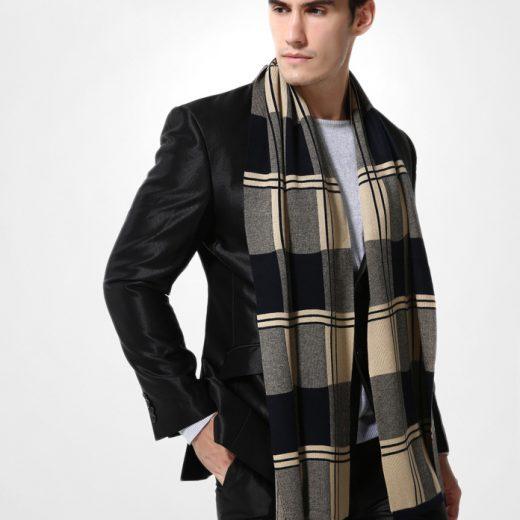 Elegantný pánsky šál z vlny a bavlny - Vzor 17