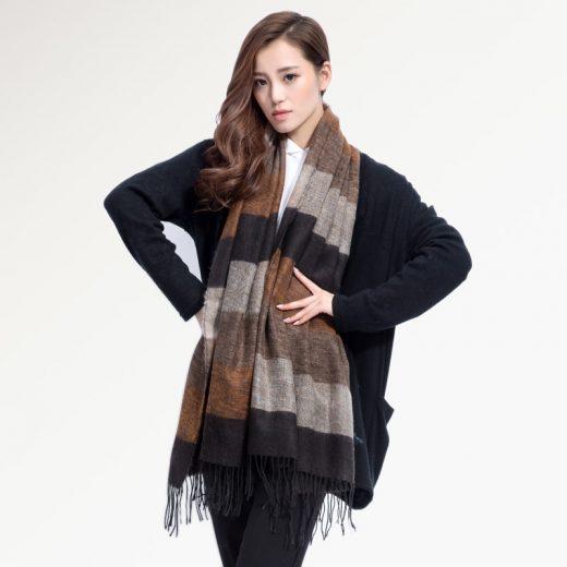 Kvalitný ručne tkaný kašmírový a bavlnený šál - model 07
