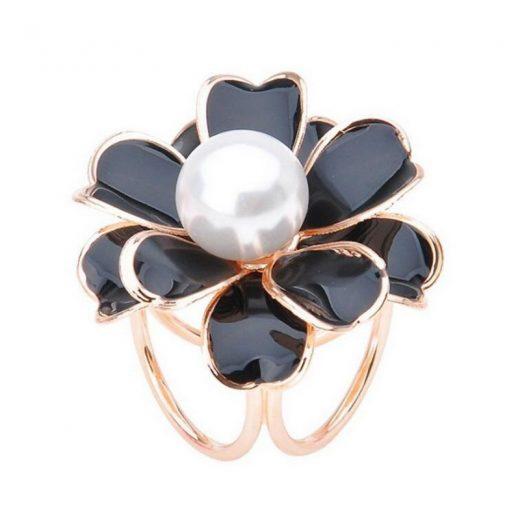 Prsteň na šatku – Biela perla - čierno-zlatý