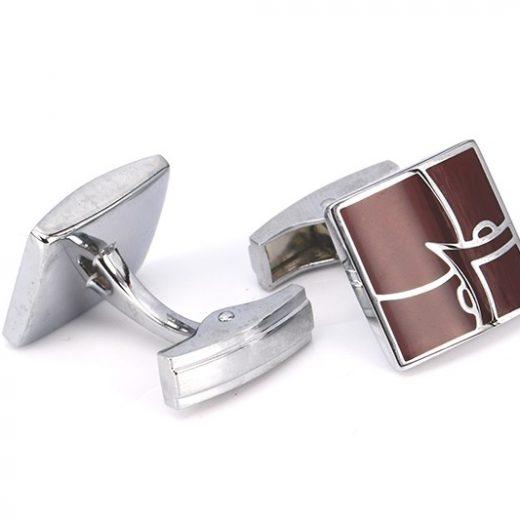 Luxusné gravírované manžetové gombíky v bordovej farbe