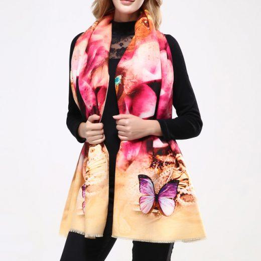 Kvalitný ručne tkaný kašmírový šál s motívom kvetov model 03