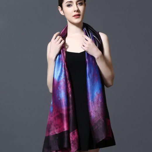 Elegantný šál zo 100% hodvábu 185 x 90 cm - leaf_03