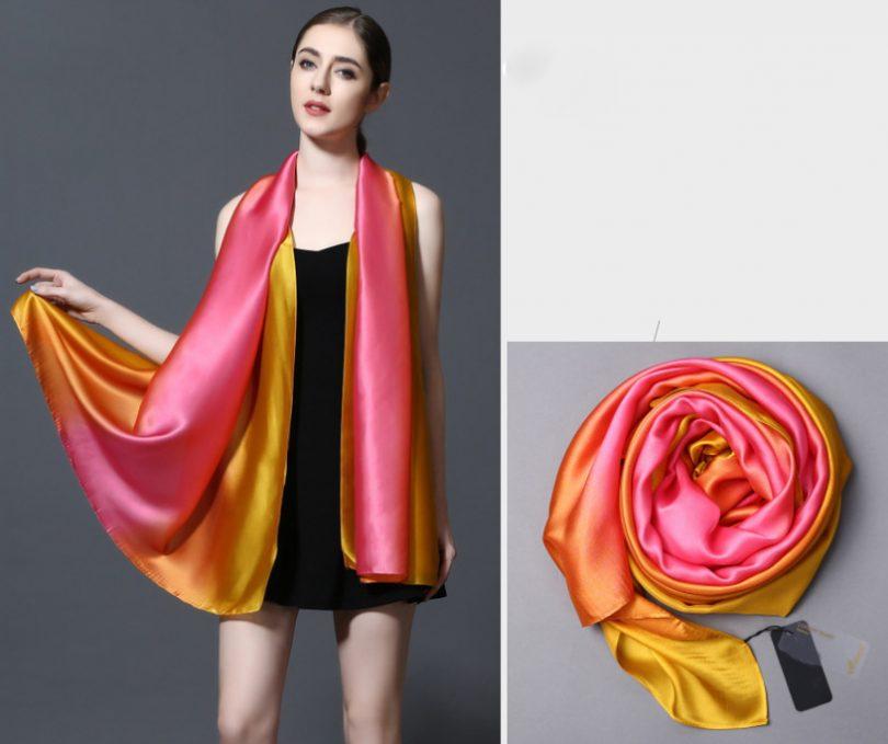 100% hodvábny šál v dúhových farbách 185 x 91 cm - art_03