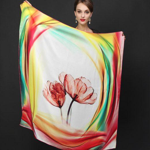 Veľká luxusná hodvábna šatka - 110 x 110 cm - Design_08