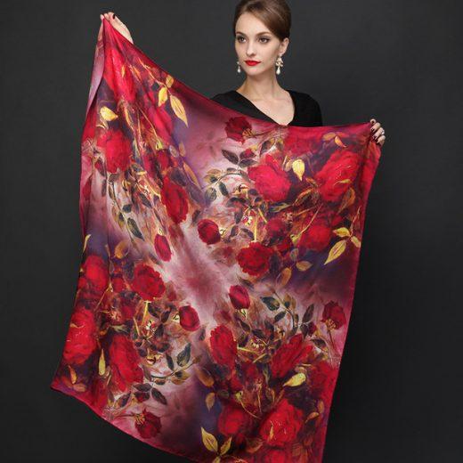 Veľká luxusná hodvábna šatka - 110 x 110 cm - Design_09