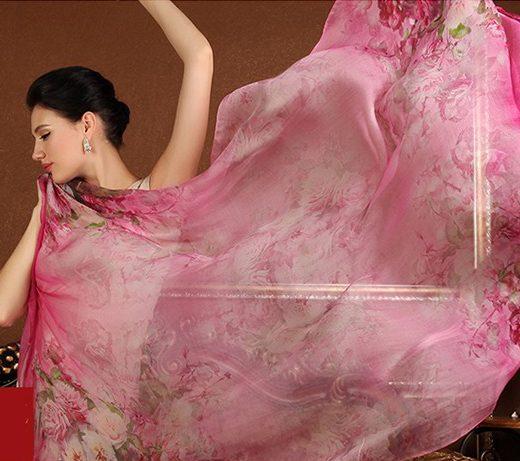 Luxusný veľký hodvábny šál v ružovej farbe