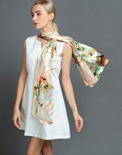 Elegantný hodvábny šál rozmerov 160 x 80 cm - Natural