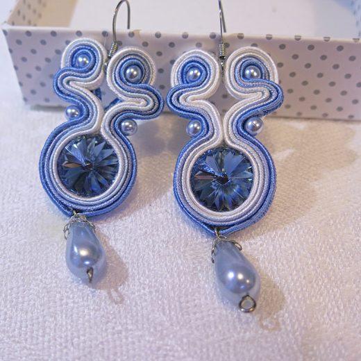 Ručne vyrobené sujtáš náušnice Tessie - Blue swirl