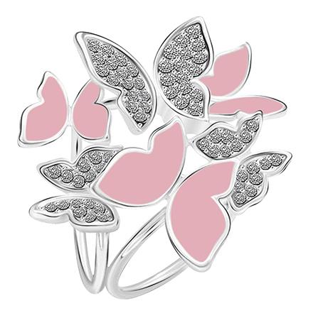 Elegantná brošňa so strieborno - ružovými motýľmi s kryštálmi