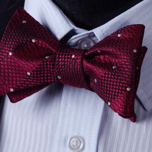 Luxusný hodvábny set - motýlik a vreckovka vo vínovo-červenej farbe