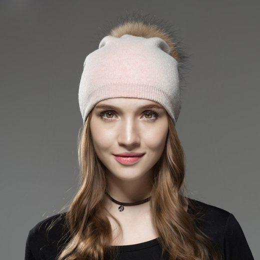 Kašmírová dámska čiapka s brmbolcom z líšky svetlo ružová