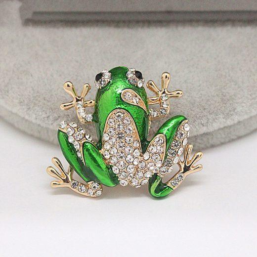 Rozkošná brošňa frog s kryštálmi