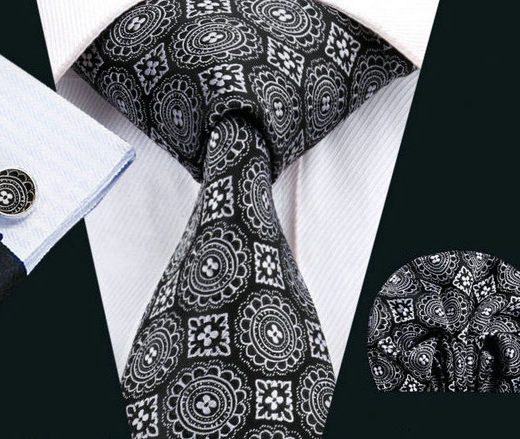 Elegantná kravatová sada Bary - kravata + manžety + vreckovka, č.9