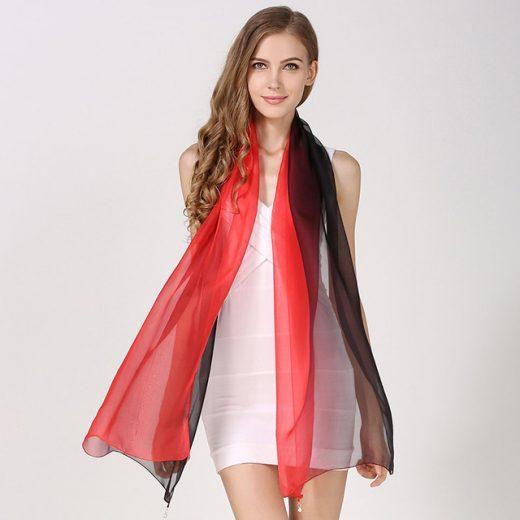 Elegantný hodvábny červeno-čierny šál, rozmer 185 x 68 cm