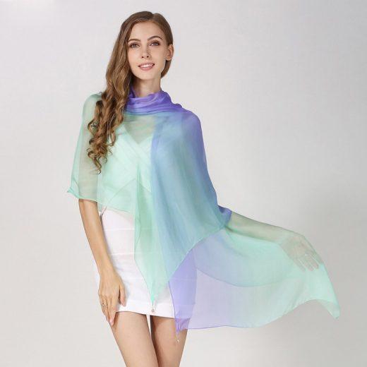 Elegantný hodvábny fialovo-zelený šál, rozmer 185 x 68 cm