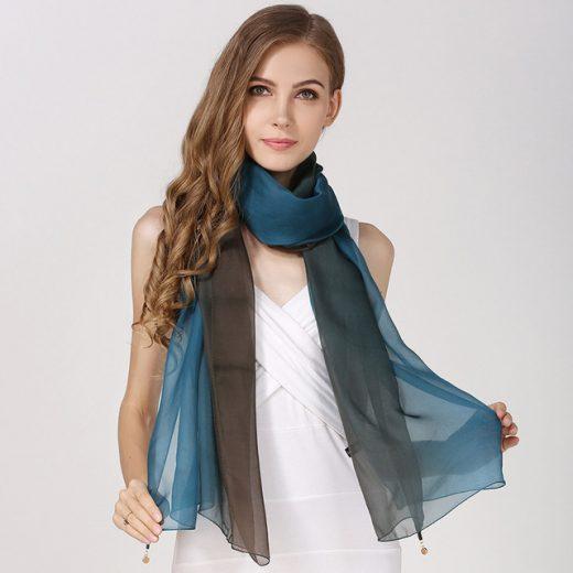 Elegantný hodvábny tmavomodro-čierny šál, rozmer 185 x 68 cm
