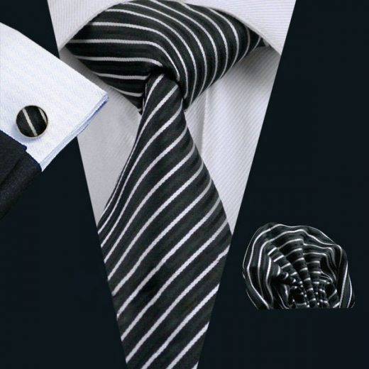 Elegantný kravatový set Bary - kravata + manžety + vreckovka, č.3