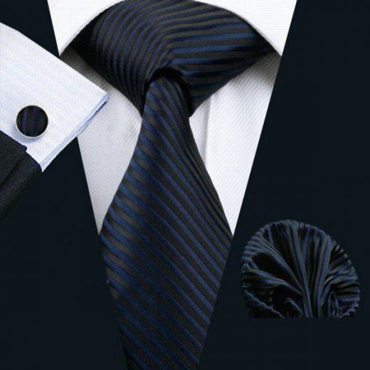 Luxusný kravatový set Bary - kravata + manžety + vreckovka, č.5