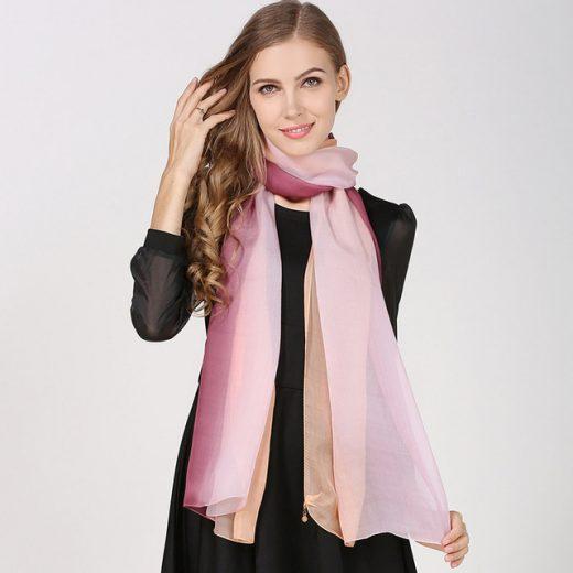 Hodvábny elegantný farebný šál, rozmer 185 x 68 cm