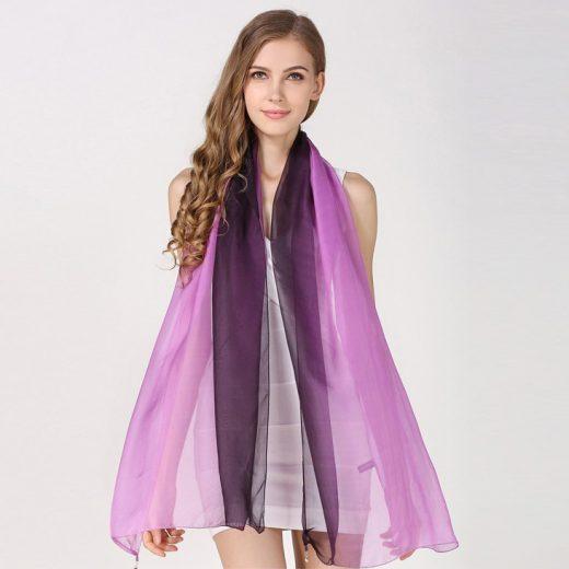 Hodvábny elegantný fialovo-čierny šál, rozmer 185 x 68 cm