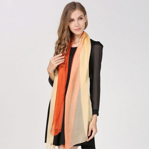 Hodvábny elegantný oranžovo-žltý šál, rozmer 185 x 68 cm