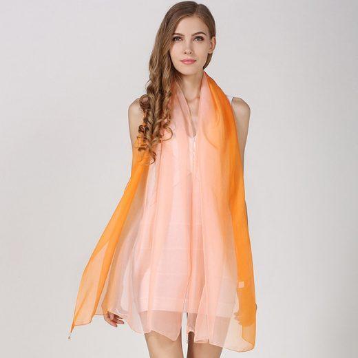 Hodvábny elegantný ružovo-oranžový šál, rozmer 185 x 68 cm
