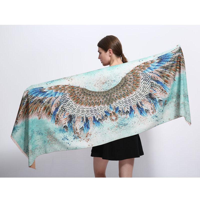Luxusný dámsky šál z kašmíru so vzorom vtáčich krídel a536d55e8a