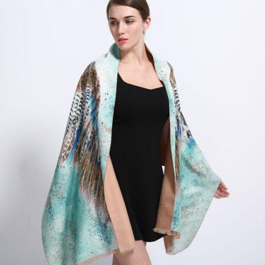Luxusná kašmírova šatka pre dámy so vzorom vtáčich krídel