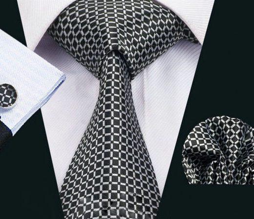 Luxusná kravatová sada Bary - kravata + manžety + vreckovka, č.7