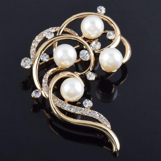 Luxusná zlatá brošňa Lady s perlami a kryštálikmi