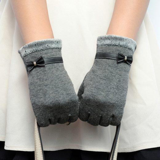 Dámske bavlnené rukavice s mašličkou v rôznych farbách