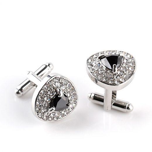 Luxusné manžetové gombíky s čiernym kryštálom a kryštálikmi
