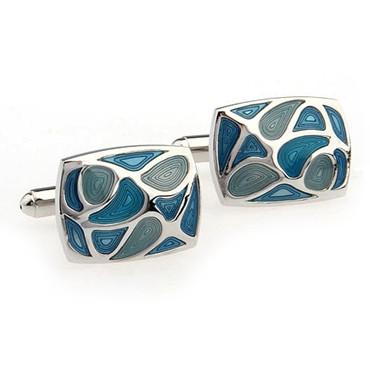 Luxusné manžety s modrými slzami v tvare obdĺžnika