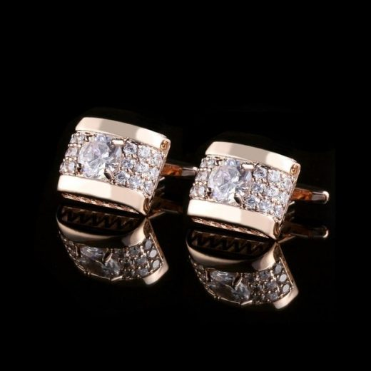 Luxusné zlaté manžety s kryštálikmi v tvare obdĺžnika