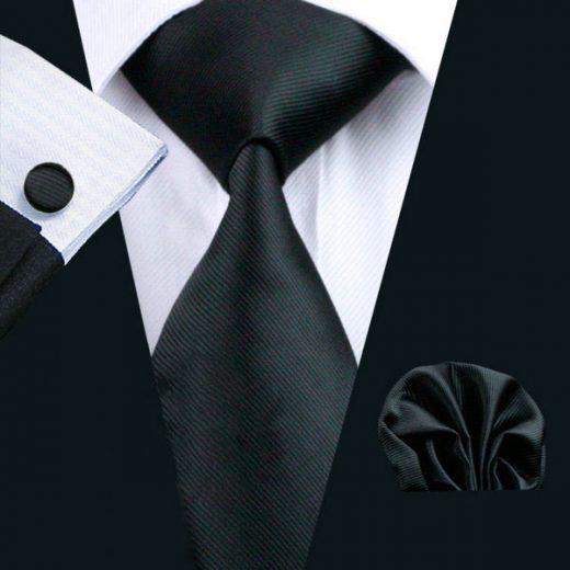 Luxusný kravatový set Bary - kravata + manžety + vreckovka, č.4