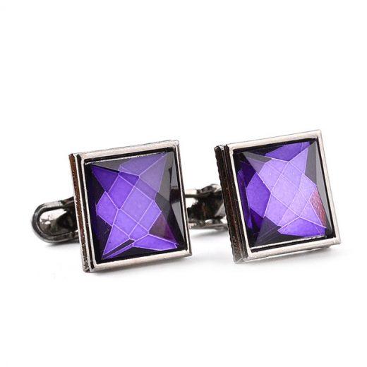 Manžety v štvorcovom prevedení s fialovým kryštálom